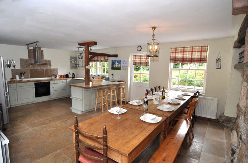 Cozinha espaçosa com mesa estendida
