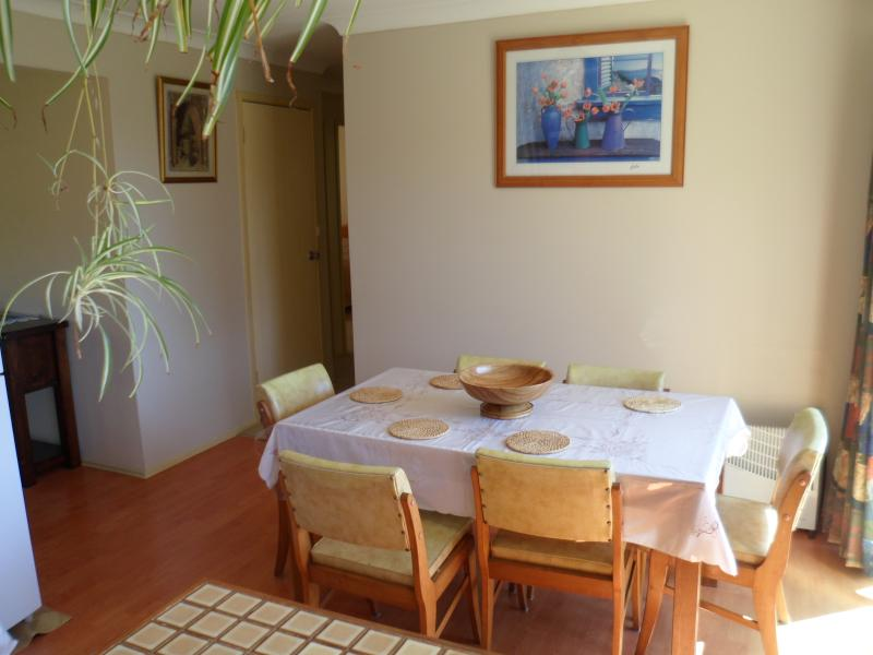 Dining room area which seats 6 people. Childs high chair available
