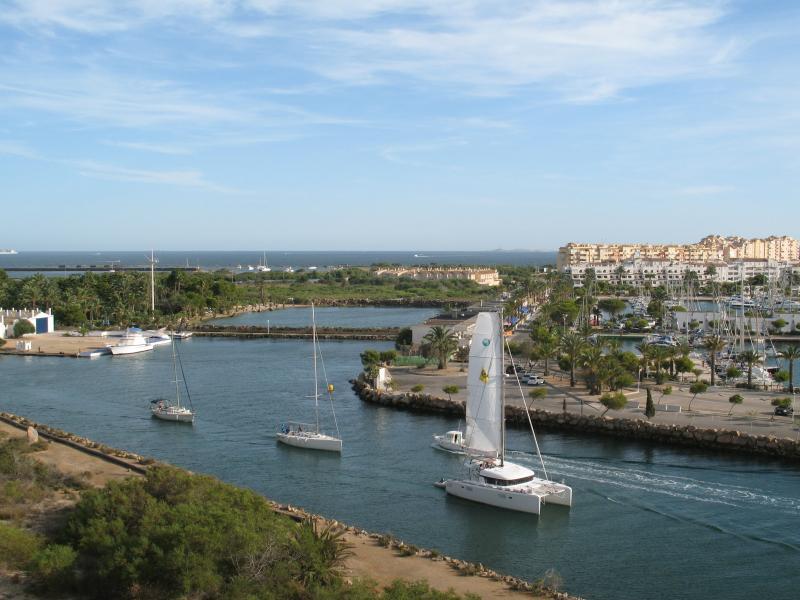 View from balcony of marina, Mar Menor and Med