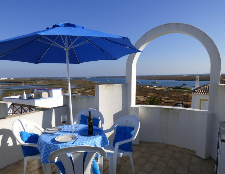 The stunning view from the private rooftop sun terrace of Apartamento Andainas.