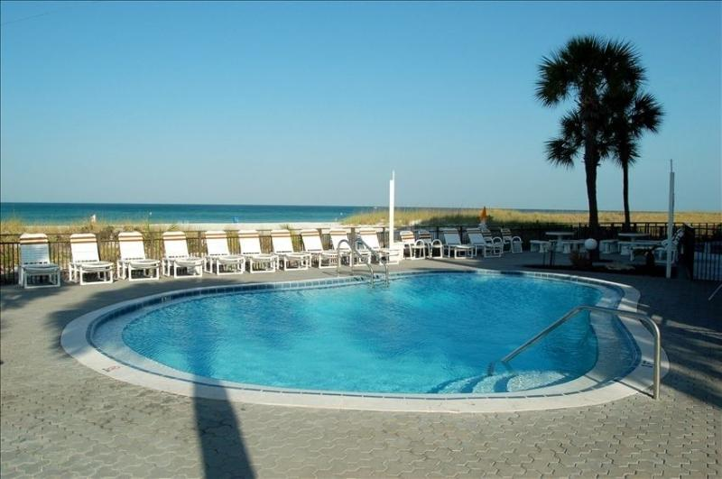 Private heated pool on the beach
