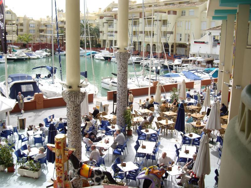 Marina bars and restaurants, 10 minutes walk