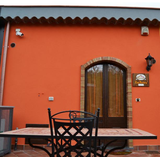Is 700 m .sl.sm. in the countryside for a total relaxation. Sea view and Etna.