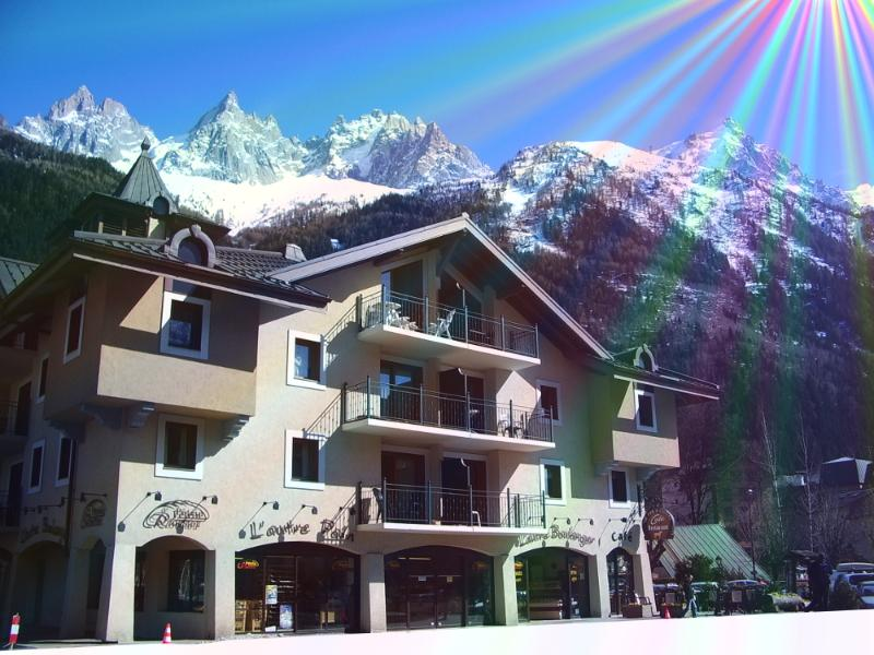 Central Chamonix. The beautiful apartment building. The stunning  Aiguille du Chamonix behind.