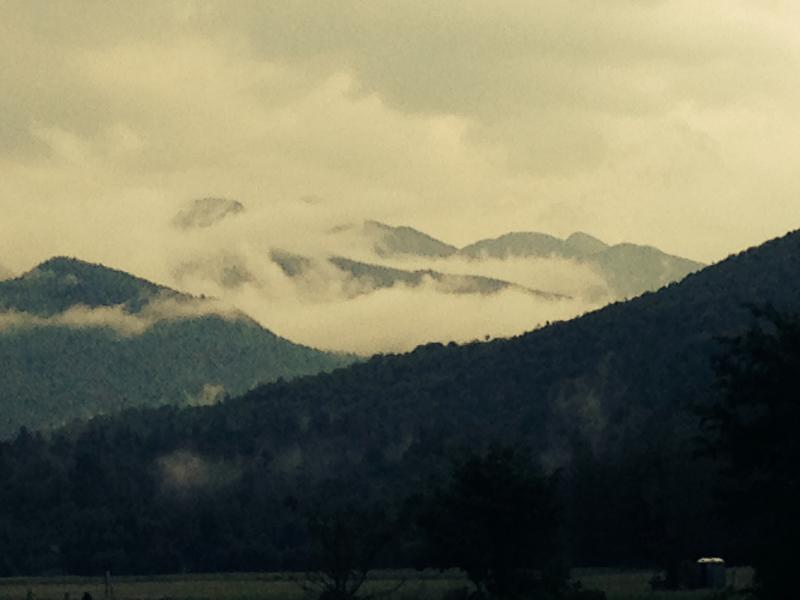 Mist rising off the High Peaks after a summer storm