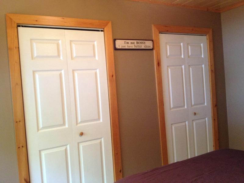 Double closets in master bedroom