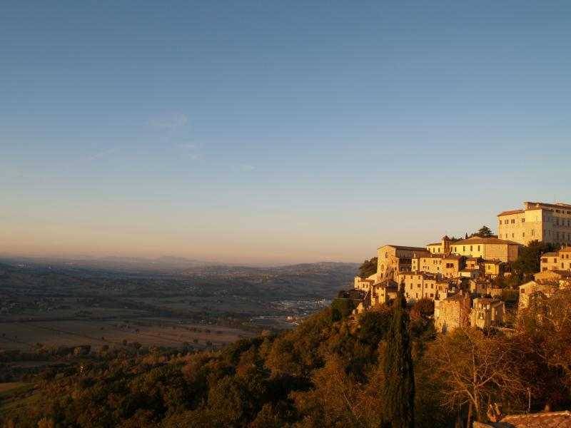 view of Todi at sunset