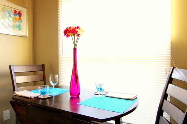 Dining area with expandable table.