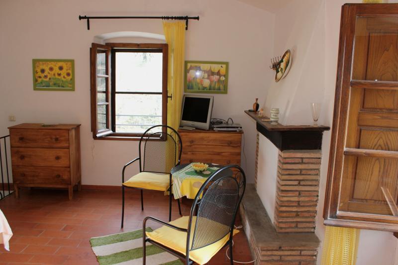 Double bedroom, TV and living corner