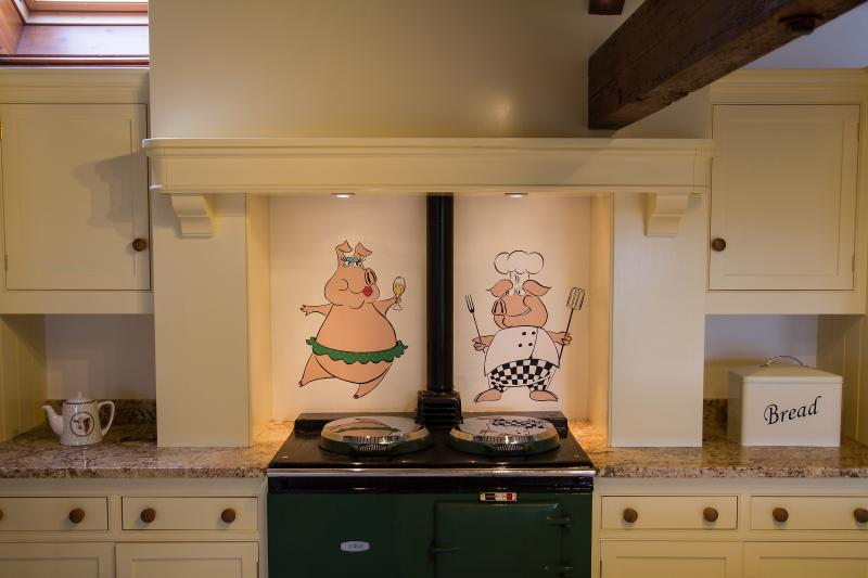Beautiful and fully equipped with Aga stove, electric oven and gas hob, dishwasher, fridge & freezer