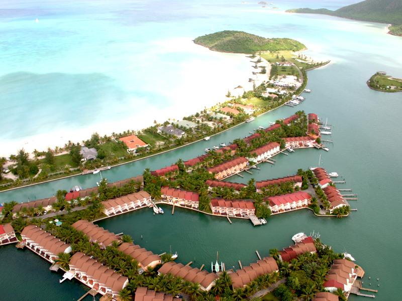 Aerial view of south finger villas and Jolly beach