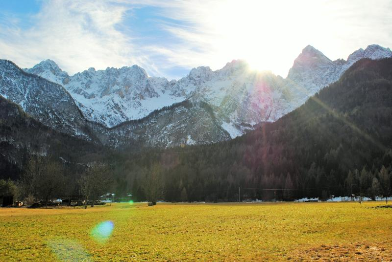 view of snowy peaks of Julian Alps