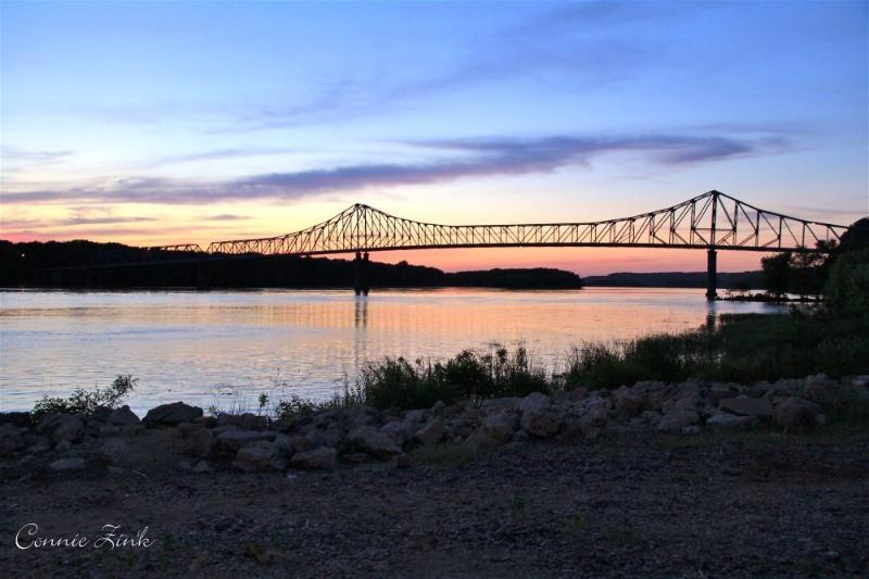 The Savanna-Sabula Bridge over the Mississippi River in Savanna Illinois.