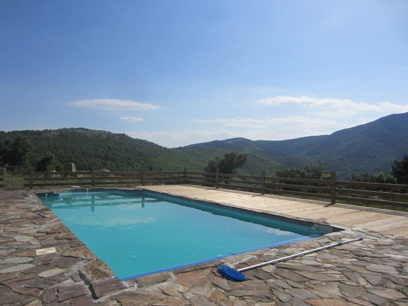 The pool surrounded by an acre of meadow in the back garden overlooks the Spanish border