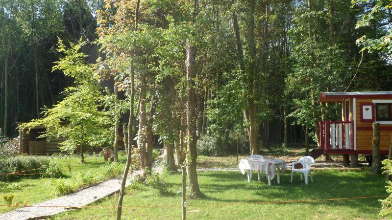 Cadre boisé. A votre disposition : barbecue et salon de jardin.