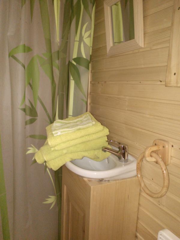 A l'intérieur de la roulotte : douche, (serviettes fournies),lavabo, toilettte écologique