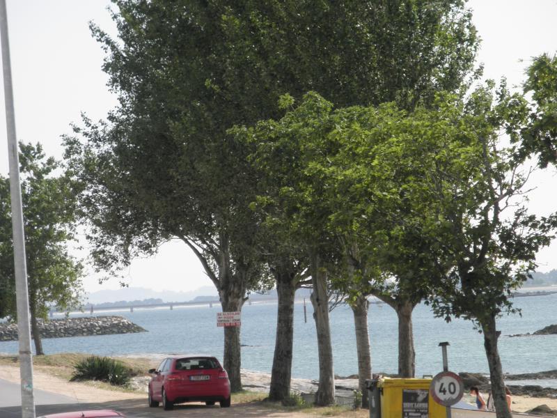 Playa frente apartamentos, con vistas a la isla de Arosa