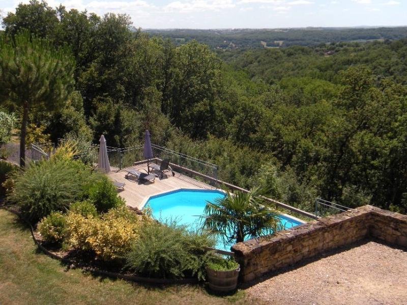 View on the swimming pool.  Only guests of the Travers de Pechméjà have access.
