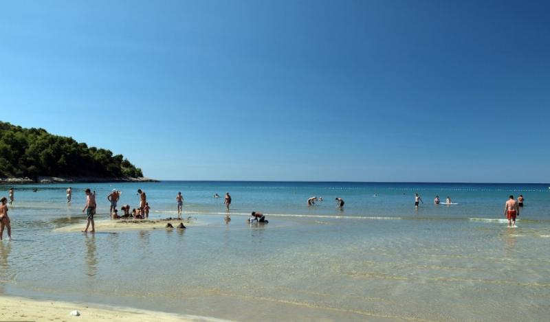 Enjoy in Pržina beach, in early mornings the sea tide is so low that the beach can double its size!