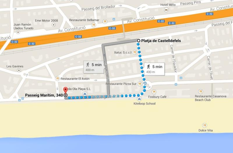 Walking direction to the train station (=> Barcelona, Sitges, Garraf; Airport...)