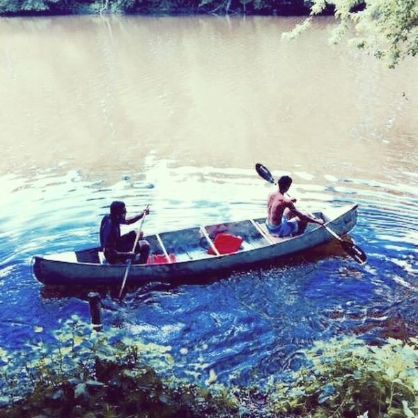 A canoe (for two) and your picnic basket is a fun way to explore the creek, look for turtles & ducks