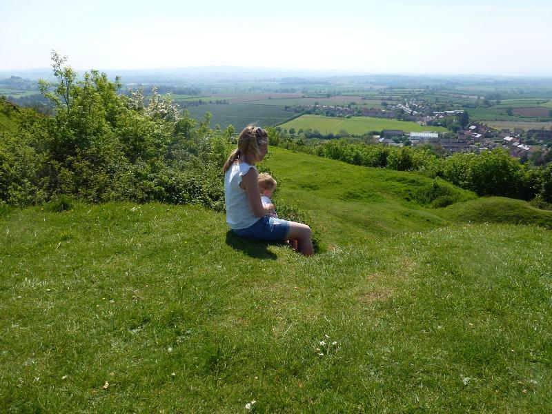 Enjoying the extensive Somerset views from Ham Hill