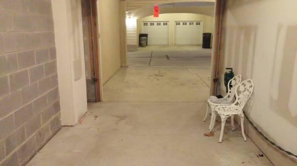 Garage and covered parking area for car.  Inside storage for beach equipment or bikes.