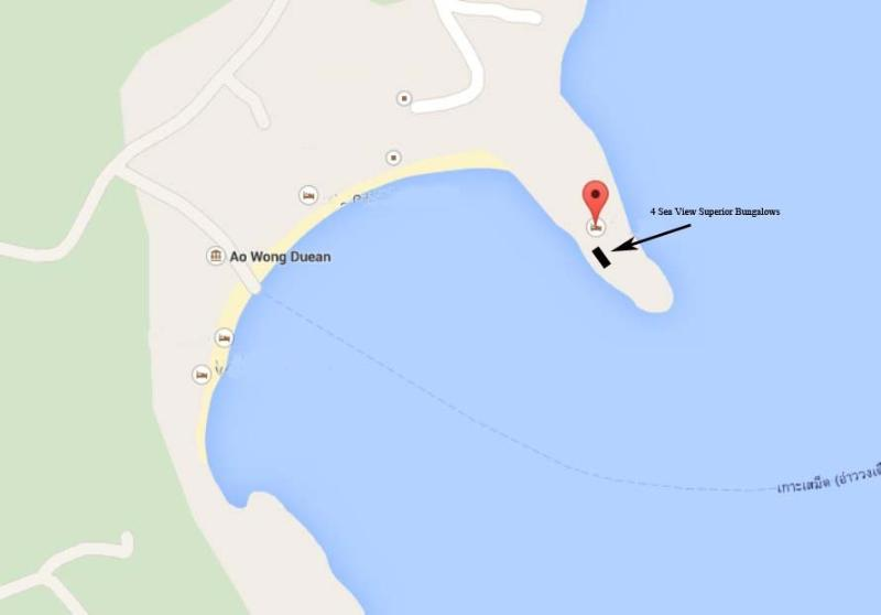 Position of the 4 Superior Sea view bungalows
