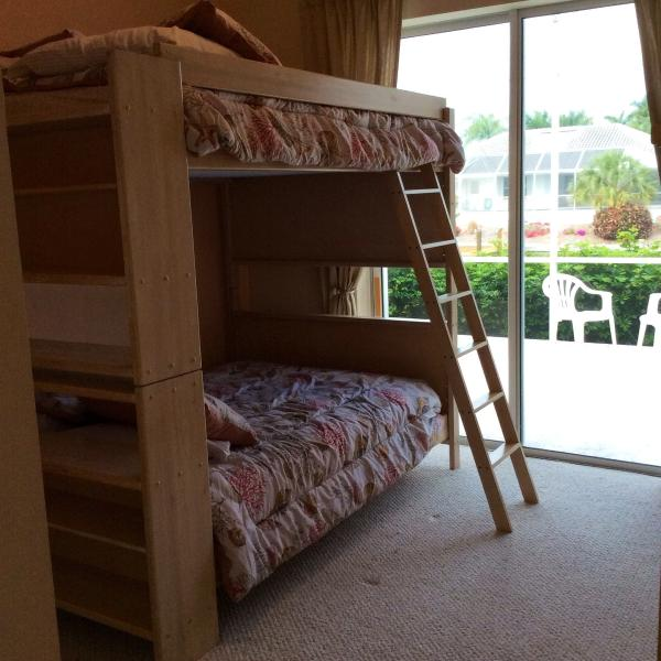 The Shell Bedroom with full size bunk beds