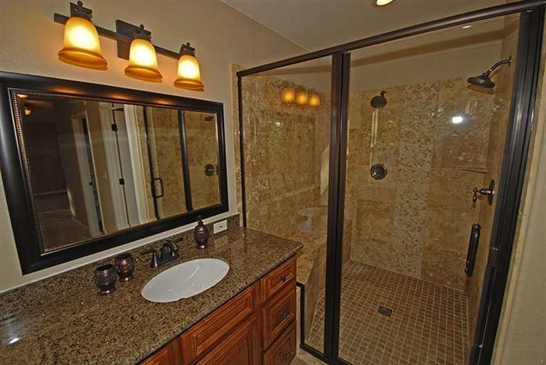Master bathroom with jetted tub and double headed shower!