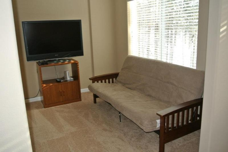 Master retreat sitting area with fold out futon!