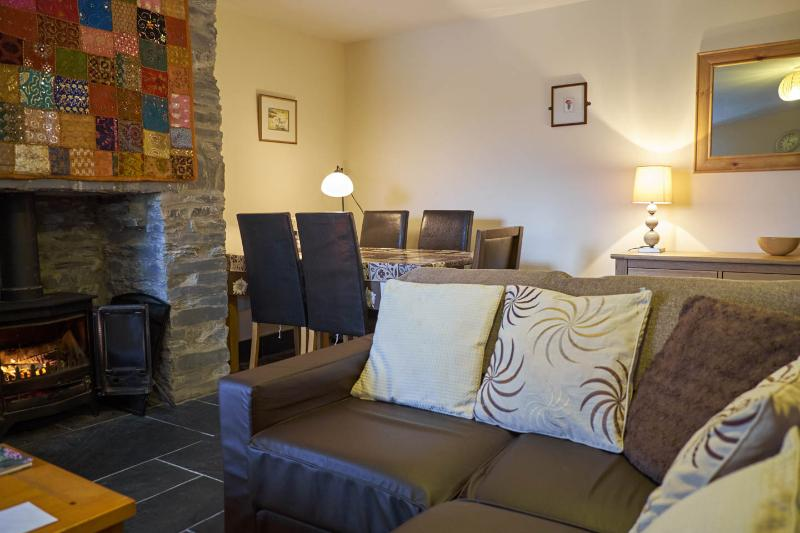 Living Room/Diner with underfloor heating, log burner and views over Ogwen Valley
