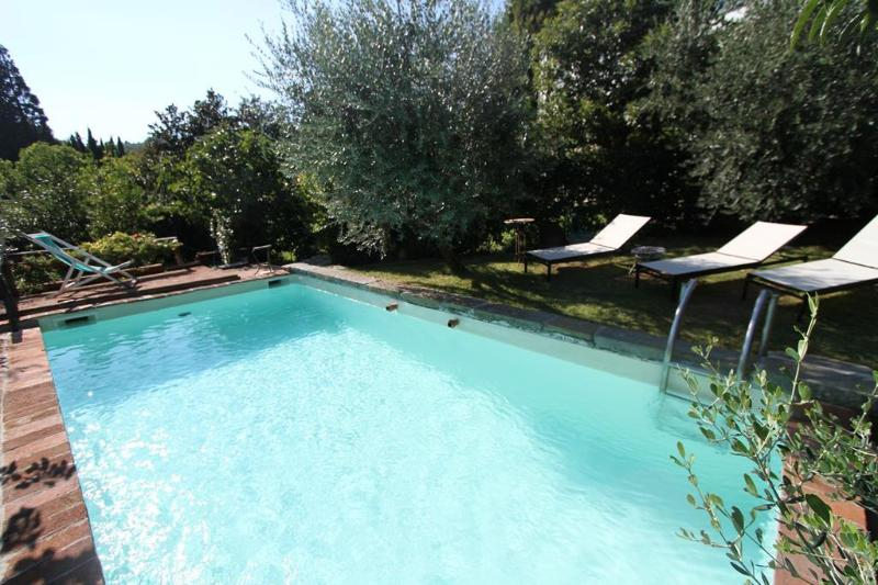 The swimming pool surrounded by fruit trees