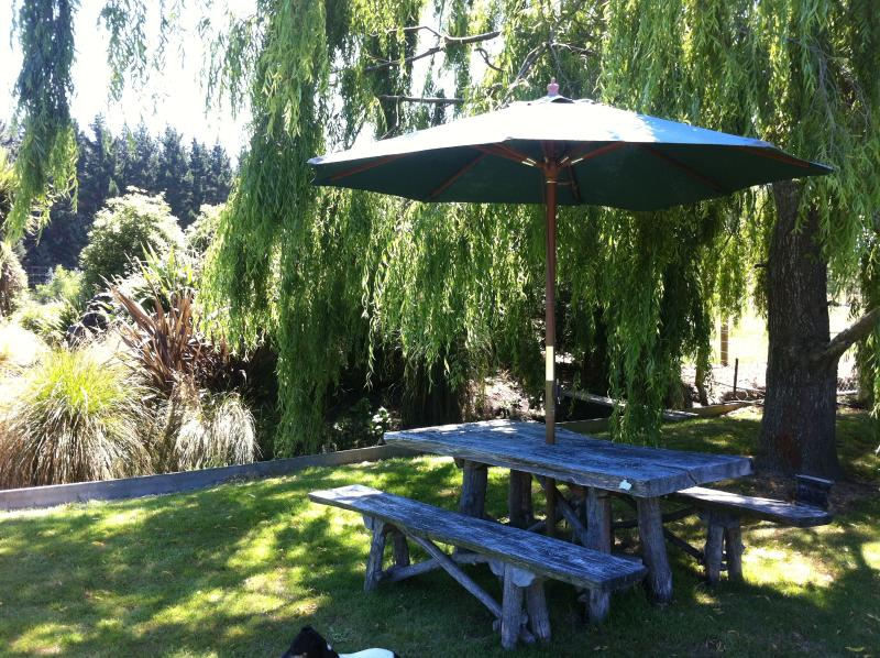 Relax with summer drinks or have a  picnic under the Willow tree by the pond