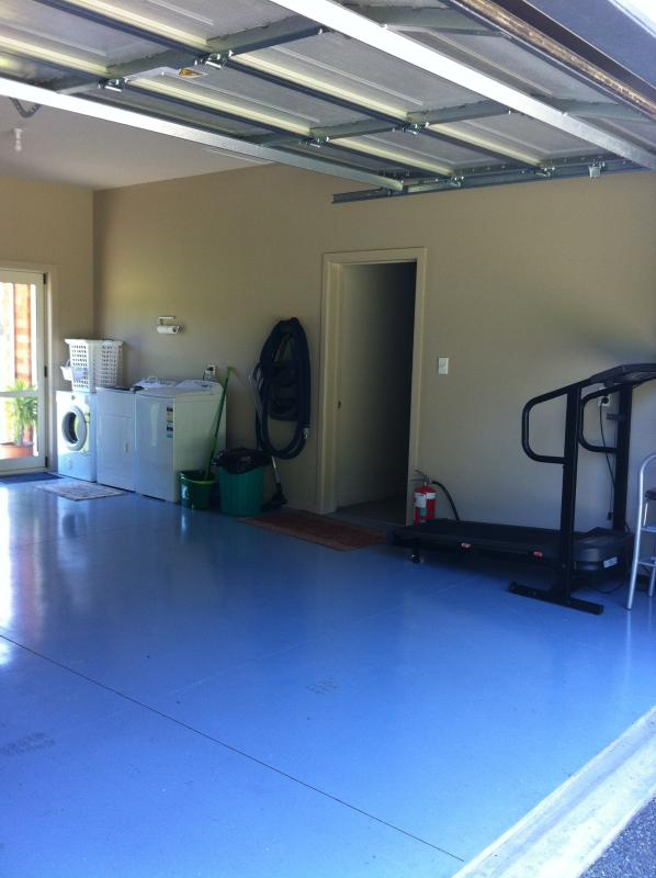 Your own private garage with fully equipped laundry and Gym equipment