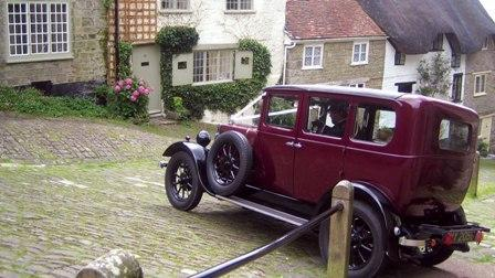 Classic wedding car awaiting the bride staying at Updown Cottage