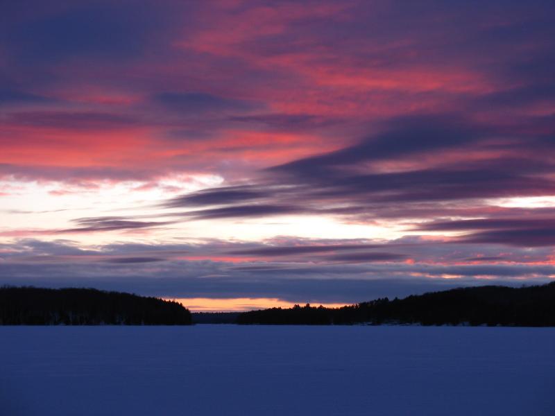 Expérience de spectaculaires couchers de soleil hiver à Breezy
