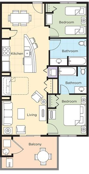 Condo Floor Plan (2nd bedroom either has a queen or 2 twins)