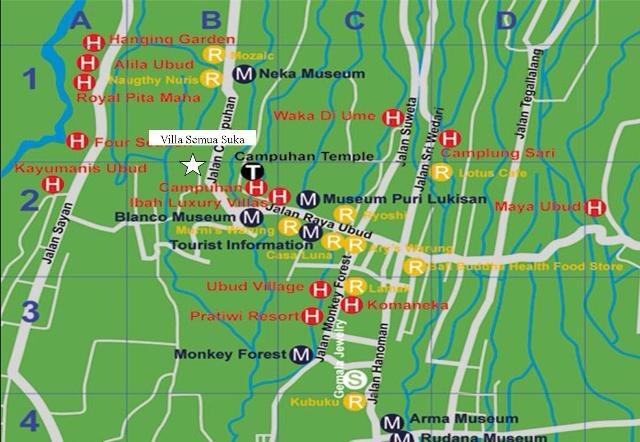 Map of Ubud. We are located just off Jalan Raya, a minute from Villa Semua Suka