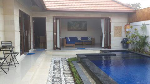 view from pool area to lounge