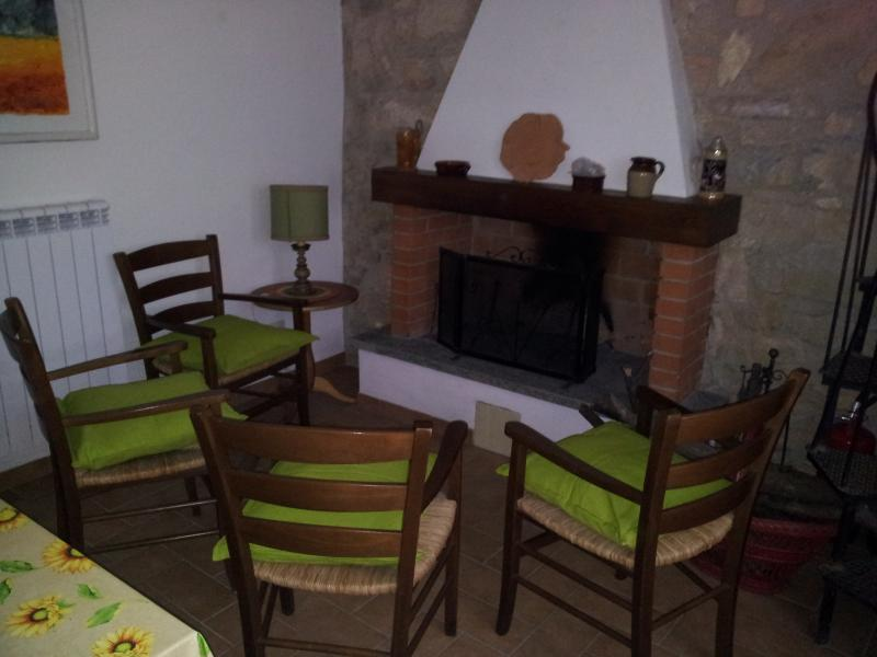 Kitchen/Living, the dining table and the fireplace