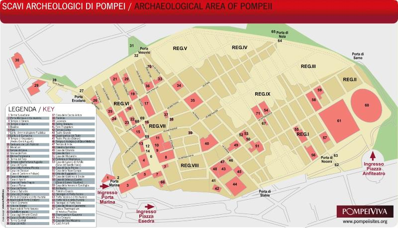 pompei archeologal area's map