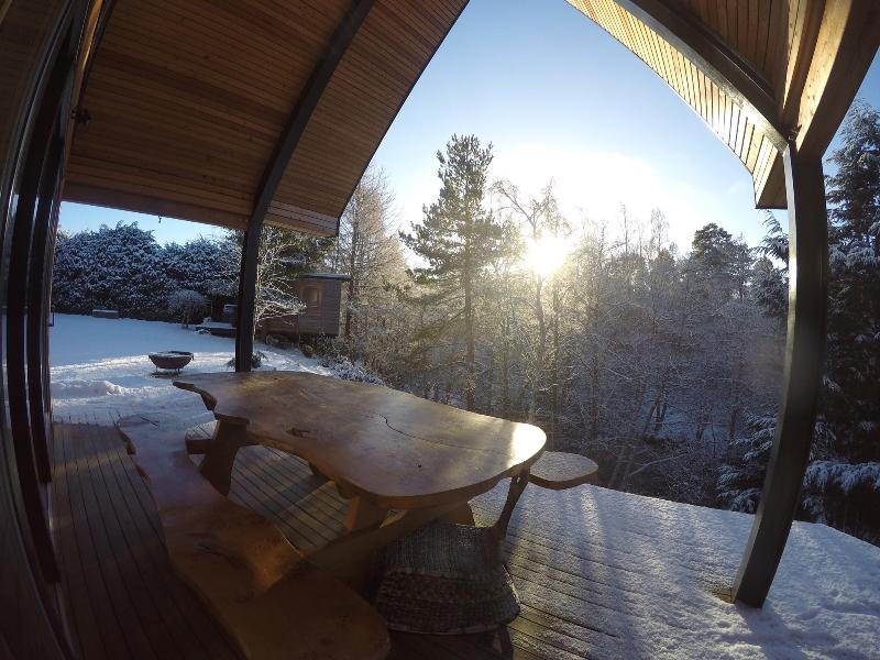 winter sun on deck view from hot tub