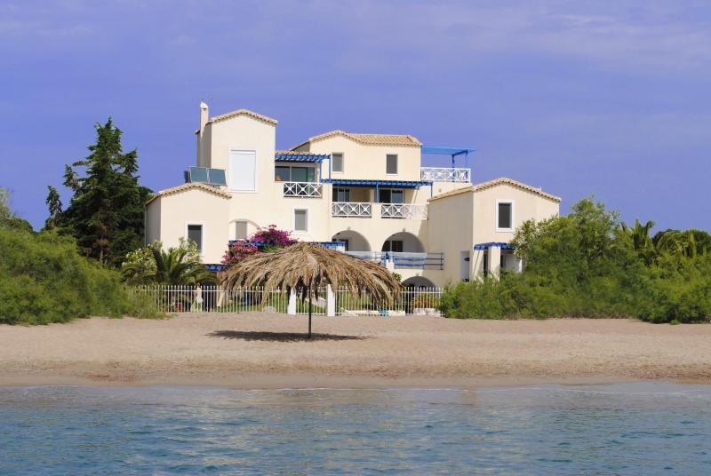 ANASTAZIA STUDIOS FROM THE SEA ON THE SANDY BEACH OF PETROTHALASSA,PORTO CHELI.