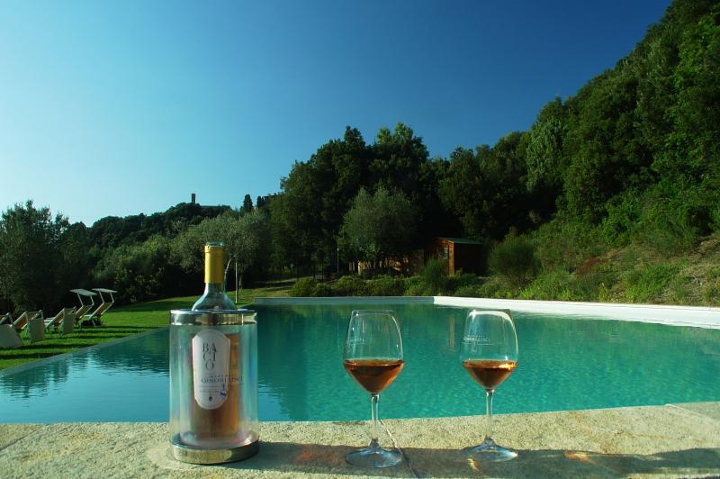 Rebata Castello Ginori Lisci em Querceto piscina e nosso vinho