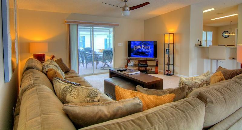 Spacious Living Room with HD cable tv.