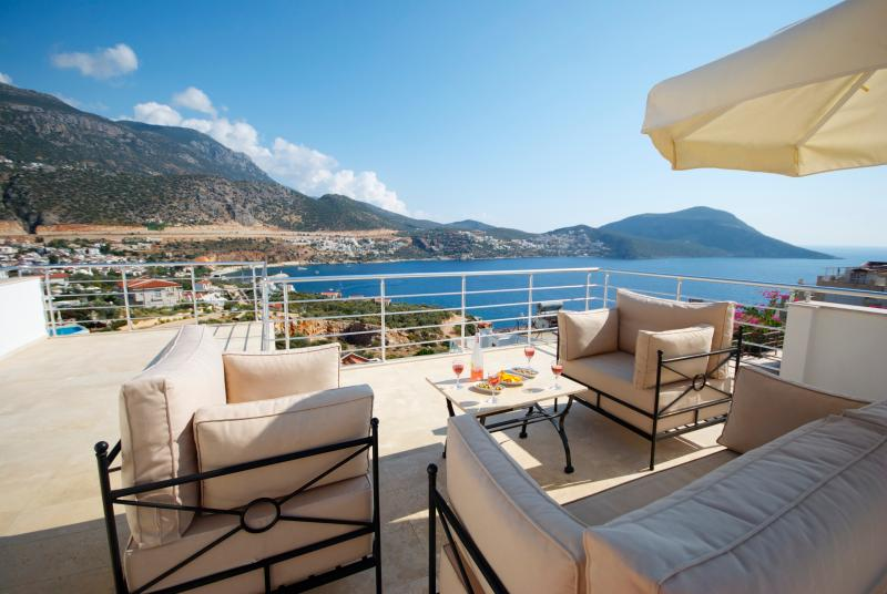 Enjoy drinks on the Roof Terrace, with sea views of the bay and Kalkan