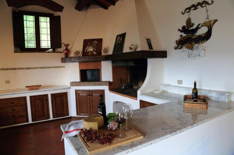 kitchen with wood stove and fireplace