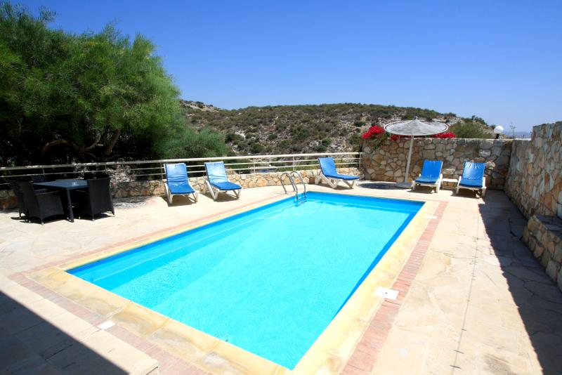 Aphrodite private pool with sun beds