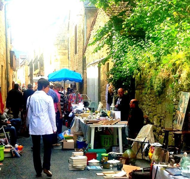 A local flea market in summer